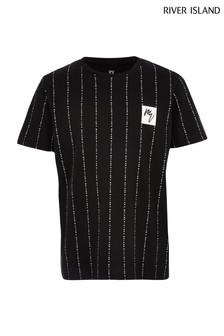 River Island Black Vertical Stripe Wordy T-Shirt