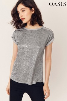 Oasis Silver Metallic Woven T-Shirt