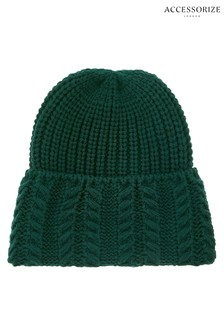 Accessorize Green Cable Turnup Beanie