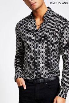 River Island Black Geo Print Shirt