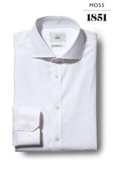 Moss 1851 Tailored Fit White Single Cuff Zero Iron Shirt