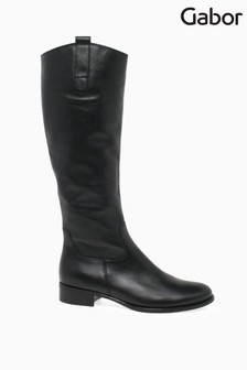 Gabor Black Brook Calf Fit Leather Long Leg Boots