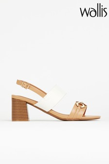 Wallis Stephanie Natural Trim Block Heel Sandals