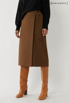 Warehouse Brown Utility Wrap Skirt