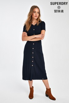 Superdry Navy Knit Midi Dress