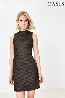 Oasis Black Dogtooth Sparkle Dress