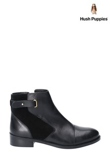 Hush Puppies Black Hollie Zip Up Ankle Boots