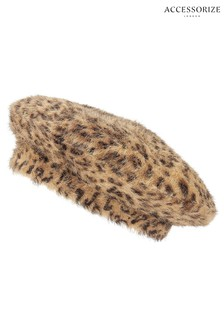 Accessorize Leopard Fluffy Beret