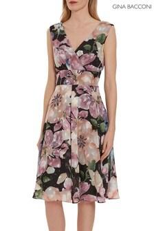 Gina Bacconi Pink Camellia Floral Dress