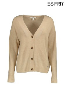 Esprit Cream Long Sleeved Button Cardigan