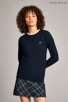 Jack Wills Navy Tinsbury Classic Cable Crew Top