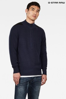 G-Star Blue Stagion 1\2 Zip Knit Jumper