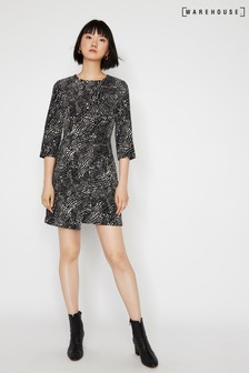 Warehouse Black Printed Wrap Front Dress