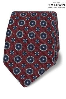 T.M. Lewin Burgundy Heritage Geometric Wool Slim Tie