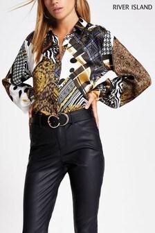 River Island Black Chain Print Sandy Glam Utility Shirt