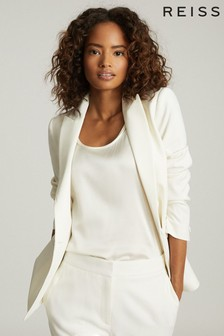 Reiss White Leigh Wool Blend Tuxedo Blazer
