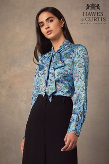 Hawes & Curtis Blue Paisley Fitted Satin Blouse