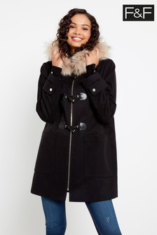 F&F Black Duffel Coat
