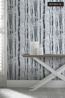 Arthouse Silver Frosted Wood Leaves Wallpaper