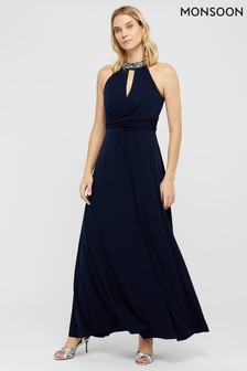 Monsoon Navy Izzie Embellished Jersey Maxi Dress