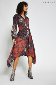 Harpenne Red Paisley Print Shirt Dress