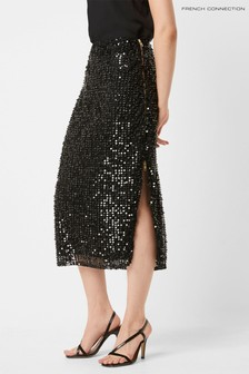 French Connection Black Desiree Sequin Midi Skirt