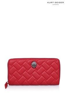 Kurt Geiger London Red Leather K Zip Around Wallet