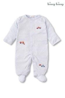 Kissy Kissy Blue Stripe Rescue Team Embroidered Babygrow