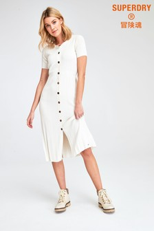 Superdry White Knit Midi Dress