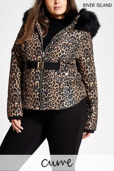 River Island Curve Leopard Tatiana Belted Jacket