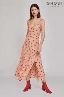 Ghost London Nude Thea Antoinette Flower Crepe Dress