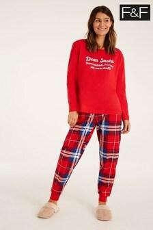 F&F Red Santa Family Pyjamas Ladies