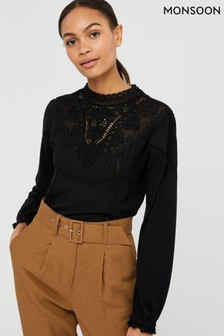 Monsoon Black Vicky Victoriana Woven Front Top