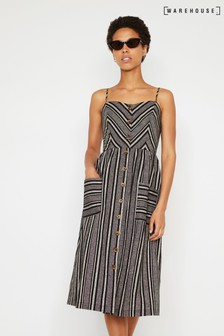 Warehouse Black Chevron Button Midi Dress