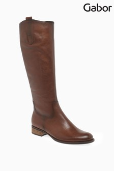 Gabor Brown Brook Calf Fit Leather Long Leg Boots