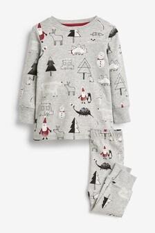 Christmas Dinosaur Print Snuggle Pyjamas (9mths-10yrs)