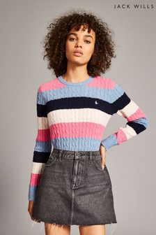 Jack Wills Blue Stripe Tinsbury Classic Cable Crew Top