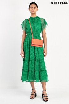 Whistles Green Sketched Floral Frill Sleeve Dress