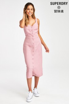 Superdry Pink Linen Blend Dress