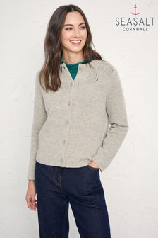 Seasalt  Grey Simple Study Cardigan Aran