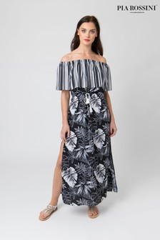 Pia Rossini Leaf Print Maxi Dress With Drawstring Waist