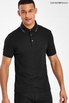 Emporio Armani Black Poloshirt with Logo Tipping