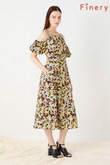 Finery London Yellow Essendine Linen Dress
