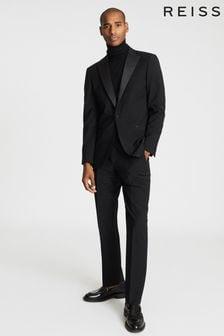 Reiss Black Poker Performance Modern Fit Tuxedo Trousers