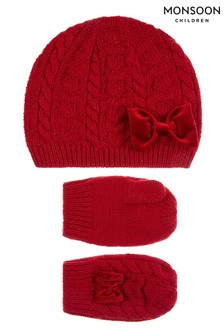 Monsoon Baby Red Ruby Beanie & Mitten Set