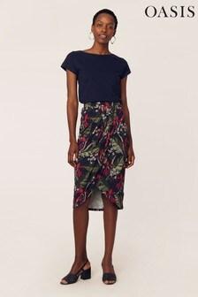 Oasis Natural Tropical Drape Skirt