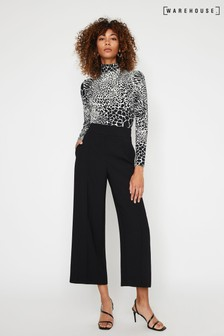 Warehouse Black Wide Cropped Trousers
