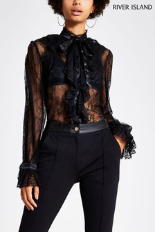 River Island Black Emmie Lace Blouse