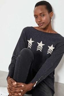Mint Velvet Grey Charcoal Star Front Batwing Jumper