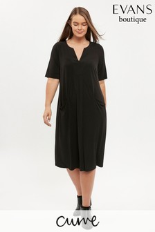 Evans Curve Black V-Neck Pocket Dress